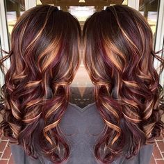 """26 Likes, 4 Comments - A Touch Of Color Makeup & Hair (@atouchofcolormakeup) on Instagram: """"Today's hair inspiration! Gorgeous colormelt of dark chocolate, caramel and eggplant! Change it…"""""""