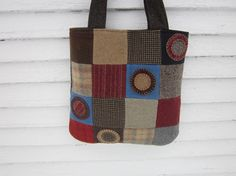 Wool patchwork bag wool purse wool penny by granniesraggedybags