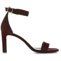 Saint Laurent Grace suede sandals ($795) ❤ liked on Polyvore featuring shoes, sandals, burgundy, boho shoes, bohemian sandals, burgundy suede shoes, suede shoes and strappy stiletto sandals