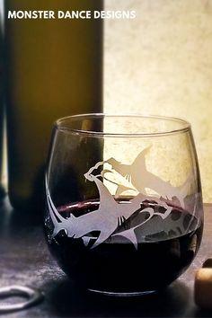 Hammerhead Shark glassware by Monster Dance Designs. Bar Geek, Drinkware, Barware, Cocktails On The Rocks, Engraved Glassware, Personalized Beer Glasses, Cocktail Glassware, Wedding Toasting Glasses, Cocktail Gifts
