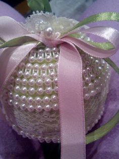 Handmade pearl and lace ornament
