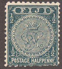 "Fiji 1892 1/2p greenish black ""Crown and V.R."""