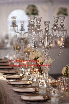20 unids/lote 68 cm tall 5 armas de cristal de cristal central de la boda/candelabros de la boda/de la boda columna/pilar de cristal(China (Mainland))