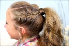 Double-Frenchbacks into High Pony   Cute Girls Hairstyles