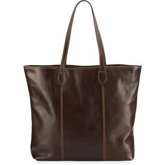 Neiman Marcus Slim Large Leather Tote Bag ($143) ❤ liked on Polyvore featuring bags, handbags, tote bags, tmoro, zippered tote bag, leather tote, leather handbag tote, genuine leather tote and brown leather purse