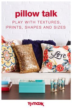 Throw pillows are an easy and affordable way to give your space an instant upgrade. Flex your interior decorating skills by combining textures, prints, shapes and sizes to create a look that totally unique and 100% you. Find pillows for every taste when you shop at T.J.Maxx.