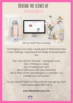 #thischickwrites is working behind the scenes! Come and join us! Share this with any girl friends you know who love writing and chick lit! :) #thewritingshed #amwriting #writingchallenge #womenwriters #chicklit