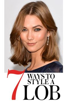 How to style your mid-length hair: 7 hairstyles to try with your long bob (AKA lob) haircut as seen on Karlie Kloss, above. | allure.com