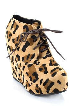 Leopard Wedge Bootie