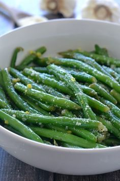 An easy recipe for Lemon Butter Green Beans tossed with garlic and Parmesan. A delicious side dish with just about anything!