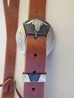 """9179 New Handmade GRUMPY OLD COWBOY 1"""" Heavy Harness Headstall DAVID HUNT Steer Head Buckle"""