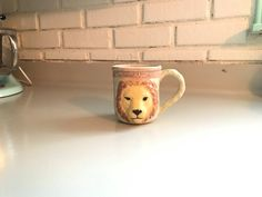 Vintage Lion Sculpture Mug Hand Made One of A by TheThriftyAnemone