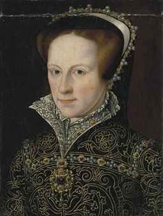 Portrait of Mary I, Queen of England (1516-1558), bust-length, in a jeweled French hood, a gold-embroidered dress with pearls, diamonds and rubies, with a Medici collar and a high neck, with a jeweled choker and pendant