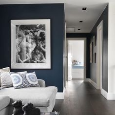 oil blue living room in art deco style with white furniture and large black frame painting on the wall depicting women in various states by Living Room Designs, Living Room Decor, Living Spaces, Blue Hallway, Hague Blue, House Blinds, Room Colors, Colours, House Rooms