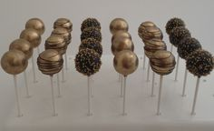 Black and gold cake pops