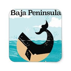 #baja peninsula Mexico travel poster Square Sticker - #travel #trip #journey #tour #voyage #vacationtrip #vaction #traveling #travelling #gifts #giftideas #idea