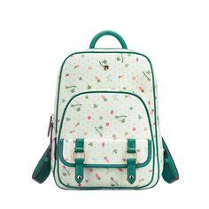 493c6ba3da16 Fresh Green Floral Printed Backpack