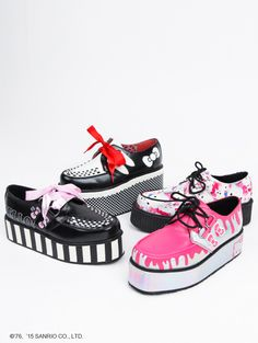 Elevating footwear... TUK creepers are given the Hello Kitty treatment for a look that's super kawaii. Available in 8 different styled shoes including Mary Janes, Mondo Sole and Holograph.