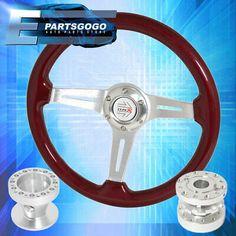 Hub Adapter Chrome//Red Mustang Godsnow Deep Dish 350Mm Racing Steering Wheel