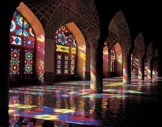 Stained glass reflections Nasir Al Mulk mosque Iran.