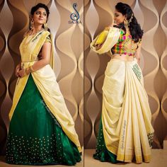 Give your a twist ❤️ . To get your outfit customized visit us at Chennai, Vadapalani or call/msg us at for appointments, online order and further details. Lehenga Saree Design, Half Saree Lehenga, Lehnga Dress, Saree Look, Lehenga Designs, Saree Blouse Designs, Ghagra Saree, Salwar Designs, Saree Wearing Styles