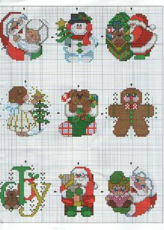 Cross-stitch Quick & Cheery Christmas Ornaments, part 3..  color chart on part 2...   Decorazione 13c