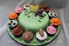 Veterinary Themed cake with animal cupcakes, hunter wellies, medical ...