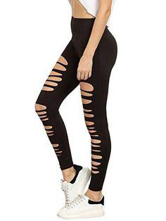 9e04854abbe26 Women s Cutout Leggings Ripped Skinny Yoga Workout Pants Active Tights  SweatyRocks Leggings Women s Leggings