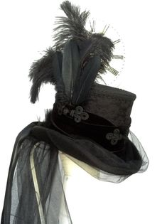 All black Neo Victorian mad hatter riding  hat от Blackpin на Etsy