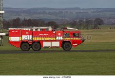 Royal Air Force red airport fire engine - Stock Image
