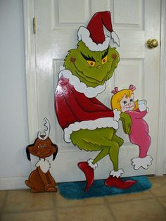 Hand Made, Grinch Max & Little Girl Christmas Yard Art Decoration