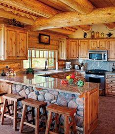 56 Favourite Log Cabin Homes Modern Design Ideas - Home-Garden-Design-Decoration Small Log Homes, Small Log Cabin, Modern Log Cabins, Cozy Cabin, Modern Houses, Log Cabin Kitchens, Log Cabin Homes, Cabin Interior Design, Home Design