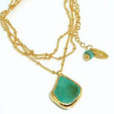 Raw Turquoise Delicate 24k Gold necklace