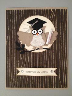 Owl punch Stampin' Up! Graduation card - feminine