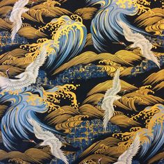 KB24 Oriental Chinese Japanese Crane Metallic Gold Waves Cotton Quilt Fabric #Unbranded