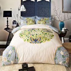 Papa&Mima Beige Floral Leaves Butterfly Bedding Set 4pcs Queen King Size Bedlinens Four Seasons Duvet Cover Set 100% Cotton #Affiliate