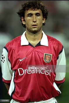 Portrait of Gilles Grimandi of Arsenal lining up for the UEFA Champions League group B match against Fiorentina at the Stadio Communale in Florence. Arsenal Football, Arsenal Fc, Football Soccer, Uefa Champions League Groups, Lineup, Florence, Goal, Polo Ralph Lauren, England