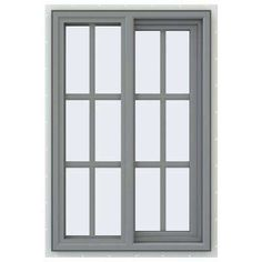 23 5 In X 35 5 In V 4500 Series Gray Painted Vinyl Right Handed Sliding Window With Colonial Grids Grilles Sliding Windows Windows Buy Door