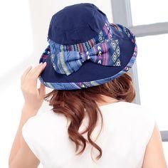Women Foldable Beach Sun Protective Hat National Style Outdoor Anti-UV Wide  Brim Visor Cap 0b2b26fec