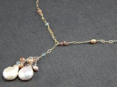 Pearl lariat necklace adjustable necklace by firenfluxhandmade, $78.00