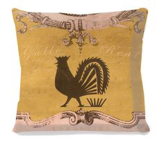 Shabby Chic Accent Pillow - Royal Rooster Yellow - Mexicana/Southwest. $37.00, via Etsy.