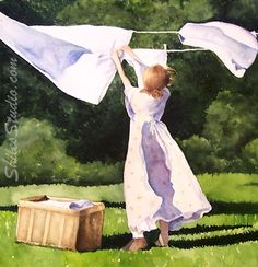 """I couldn't find a laundry line painted by Jamie Wyeth so I've moved on with this one by Carolyn Troy 'Laundry Day'"" Smelly Towels, Laundry Art, Laundry Room, Beautiful Paintings, Washing Clothes, Country Life, Watercolor Paintings, Watercolour, Art Gallery"