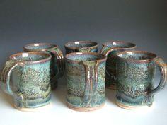 Antique Vintage Stoneware Pottery Mugs | Hand Thrown Stoneware Pottery Mugs Set Of 6 M-10-6