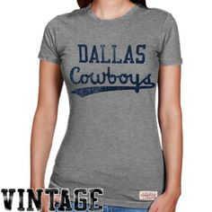 Mitchell  amp  Ness Dallas Cowboys Ladies Vintage Graphic Premium T-Shirt -  Ash   9d716a435