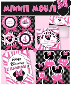 Ideas for parties with printables.  Themes include Mickey, Minnie, sea, camp, Sesame Street, etc.