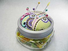 Pin cushion: I used the honey jar from your wedding favours and made a pin jar cushion like this with it, in black velvet,I used a glue gun to stick it to lid, its cool and holds thousnads of pins, I love it every time I use it I think of your wedding day.x