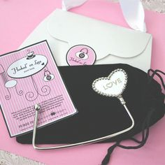 Keep your purse close to you and off the floor in style! Place the heart shaped hook at the edge of a table and use as a cradle for your. Custom Wedding Favours, Wedding Shower Favors, Party Favors, Purse Hook, Purse Hanger, Hangers, Love Label, Hold My Hand, Beaded Trim