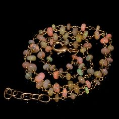 """26CRTS 3.5to5MM 21.5"""" ETHIOPIAN OPAL RONDELLE BEADS CHAIN NECKLACE OBI2225 #OPALBEADSINDIA"""