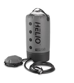 Helio pressure showerby Nemo Equipment   5-7 minutes of steady water pressure on the go, pressurized by a foot pump!! And weighs less than a liter of water! BRILLIANT.