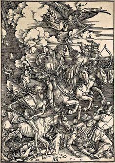 5. DURER, Albrecht (1471-1528) / The Apocalypse [series] #05 of 16 -- The Four Horsemen of the Apocalypse / 1496-98 / woodcut durer-apocalypse-05